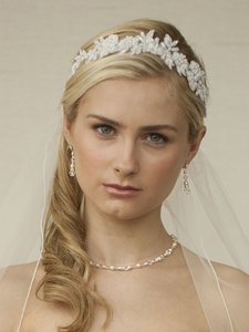 Mariell White Lace Applique Garden Wedding Headband With Meticulous Edging 4101hb-w