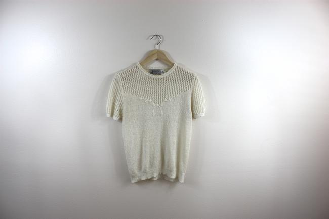 Other Knit 70s Boho Prairie Top Ivory