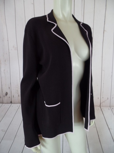 BCBGMAXAZRIA Sweater Large Open Front Stretchy Schoolboy Brown with Pale Pink Trim Blazer