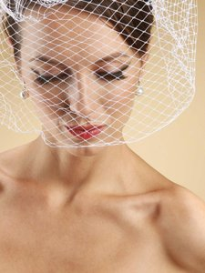 Mariell Ivory Birdcage French Netting Face 730fv-w Bridal Veil