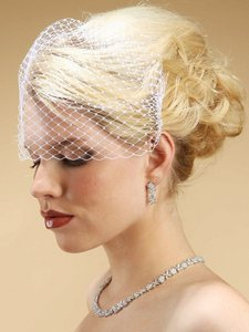 Mariell White Birdcage French Netting Bridal Veil