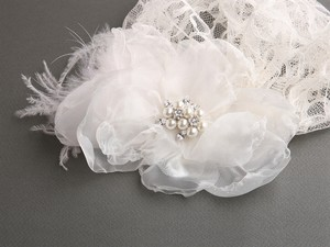 Mariell Ivory Juliet Cap with Dark Lace Organza Flower Feather Clip 3902v-dki Hair Accessory