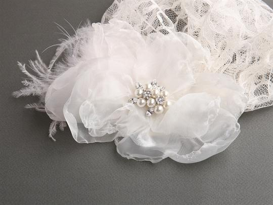Mariell Juliet Bridal Cap With Dark Ivory Lace Organza Flower & Feather Hair Clip 3902v-dki