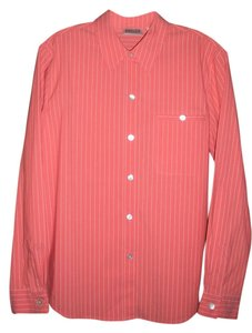 Chico's Striped Longsleeve Button Down Shirt Orange/White
