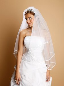 Mariell 2-tier Circular Cut Wedding Veil With Folded Satin Ribbon Edging 1546v-30-w