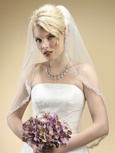 Mariell Rhinestone Edge Mantilla Wedding Veil With Floral Applique 3326v White
