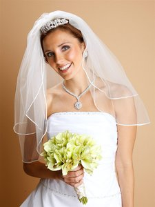 Mariell 2-layer Sheer Bridal Veil With Satin Corded Edge 913v-w