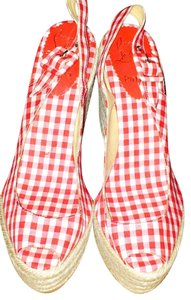 Christian Louboutin Red And White Gingham Wedges