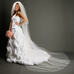 Mariell White Long Cathedral Length with Rounded Satin Corded Edge 899v-w Bridal Veil