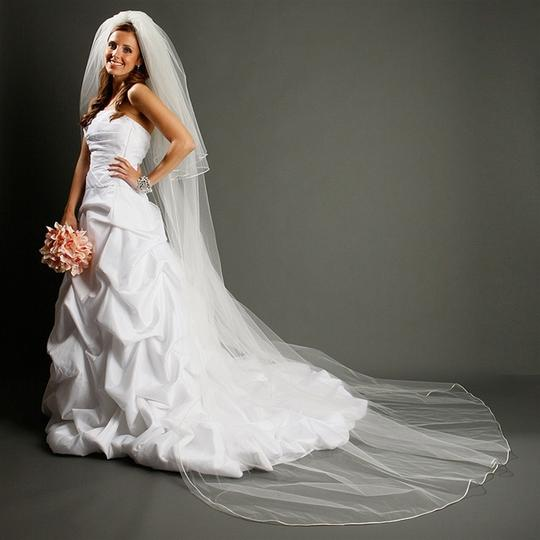 Mariell White Long Cathedral Length with Rounded Satin Corded Edge 899v-w Bridal Veils