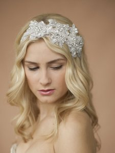 Mariell Sculptured White Lace Wedding Headband With Crystals & Beads 4099hb-w