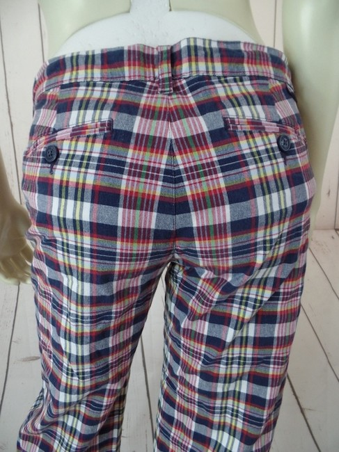 Tommy Hilfiger Tommy Jeans Pedal Pushers Low Rise Stretch Juniors 7 Capris Red, White, Blue, Yellow Plaid
