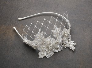 Mariell Luxurious Crystal Embellished Lace Wedding Headband With Wide Netting 4086hb-i