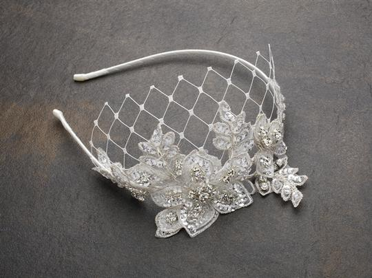 Mariell Ivory Luxurious Crystal Embellished Lace Headband with Wide Netting 4086hb-i Hair Accessory