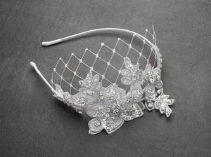 Mariell Luxurious Crystal Embellished Lace Wedding Headband With Wide Netting 4086hb-w