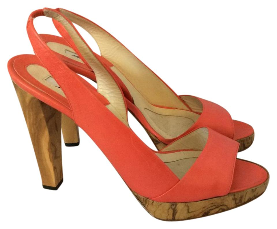Brian Atwood Orange Wood Wedge Wedge Wood Platforms 104a66
