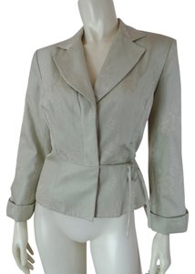 Talbots Silk Embossed Floral Lined Cuffed Light Celery Green Blazer