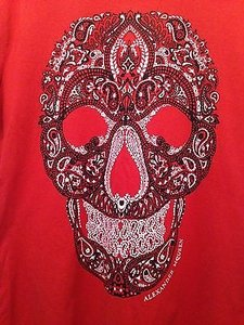 Alexander McQueen Skull Printed 100 Cotton K T Shirt Red