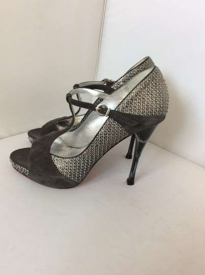 Caligarius Peep Toe Animal Print T Strap Suede Black, silver Sandals