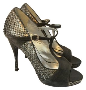 Caligarius Peep Toe Animal Print Python Black Sandals