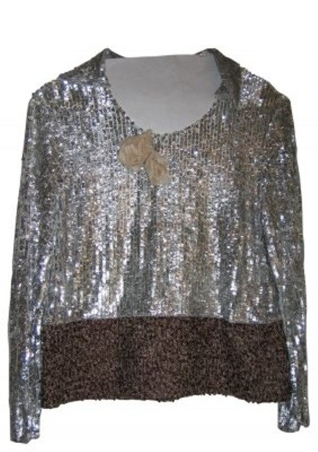 Preload https://img-static.tradesy.com/item/36244/marni-silver-and-brown-tweed-sequined-day-to-evening-blouse-size-8-m-0-0-650-650.jpg