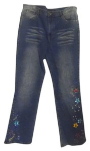 DG2 by Diane Gilman Boot Cut Pants Blue