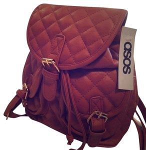 ASOS Handbags Mini Pouch Mini Backpack Faux Calfskin Boho-chic Fall Winter Satchel in tan quilted leather
