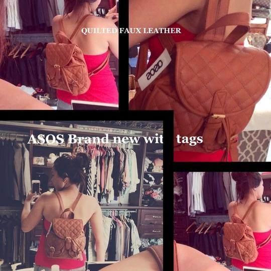 ASOS Handbags Mini Pouch Mini Backpack Faux Calfskin Boho-chic Fall Bags Winter Bags Satchel in tan quilted leather