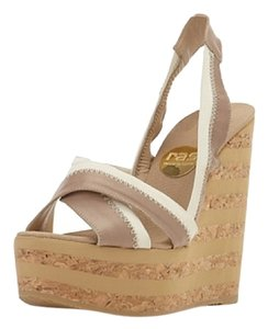 Ras Cork Leather Beige-White Wedges