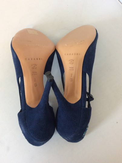 Casadei Jewels Peep Toe Suede Blue Sandals