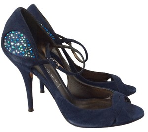 Casadei Heel Jewels Blue Suede Navy Sandals