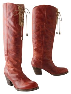 Anthropologie Leather Leather Cowboy Red Boots