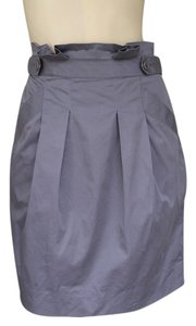 BCBGMAXAZRIA Blend Paper Bag Waist Pleated Skirt Gray