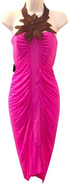 Item - Hot Pink Strapless with Detachable Leather Collar Short Cocktail Dress Size 4 (S)