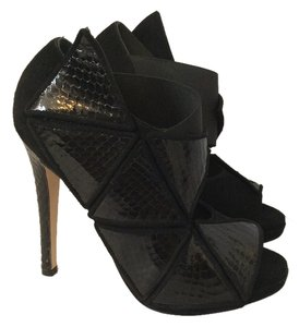 Chrissie Morris Cage Peep Toe Wings Black Sandals