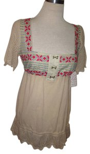 Free People Ebroidered Beige Tunic
