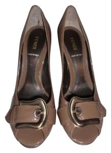 Fendi Heels With Box Brown Taupe Pumps