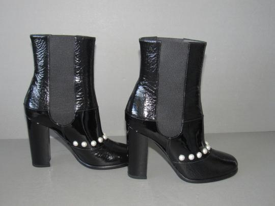 Chanel 14b Pearl Stretch Black Boots