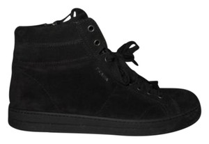 Prada Suede High Top Sneakers Tennis Black Athletic