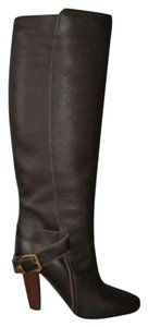 Chloé Chloe Prince Leather Tall Knee Brown Boots