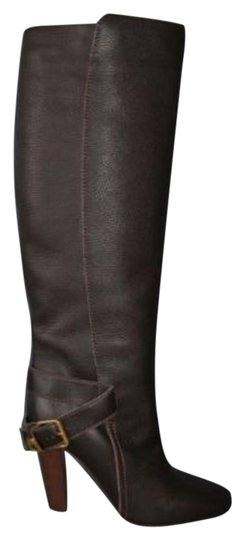 Chloé Prince Leather Tall Knee Brown Boots