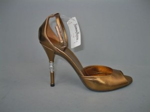 Gucci Metallic Crystal Peep Toe BRONZE Pumps