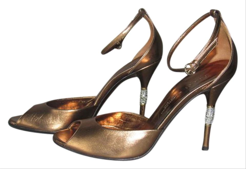 49c4c3a0a69 Gucci Crystal Peep Toe With Box Evening Jeweled Heel Bronze Pumps Image 0  ...