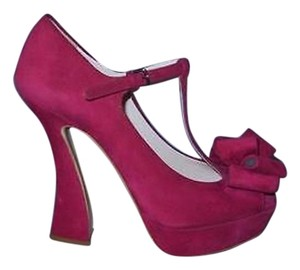 Miu Miu Heels With Box Sculpted Heel Fushia Pink Pumps