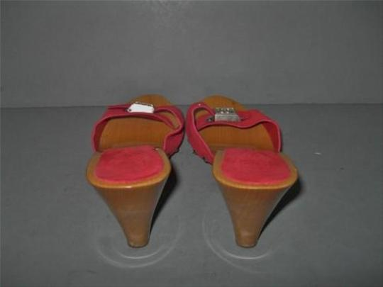 Chanel Suede Wood Mules Red Sandals