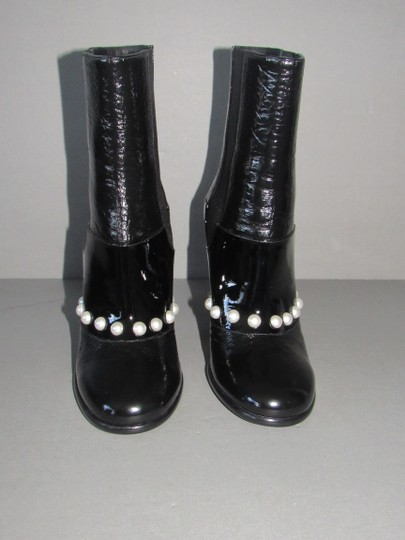 Chanel Leather Pearl Black Boots