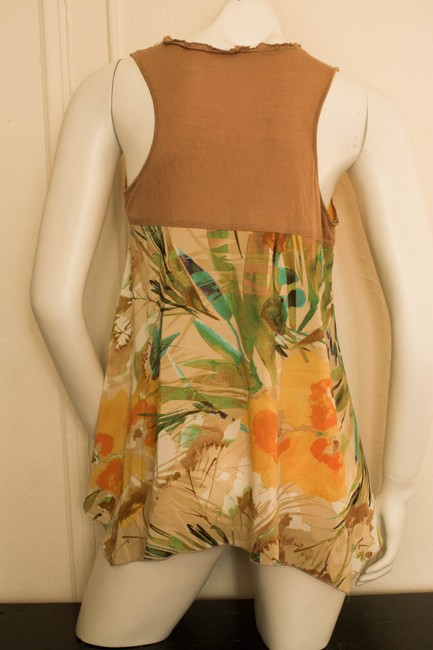 Other Tropical Hawaii Hawaiian Hipster Hippie Hippy Gypsy Abstract Print Boho Bohemian Cochella Spring Summer Hibiscus Print Top beige, orange, yellow, green, emerald, turquoise