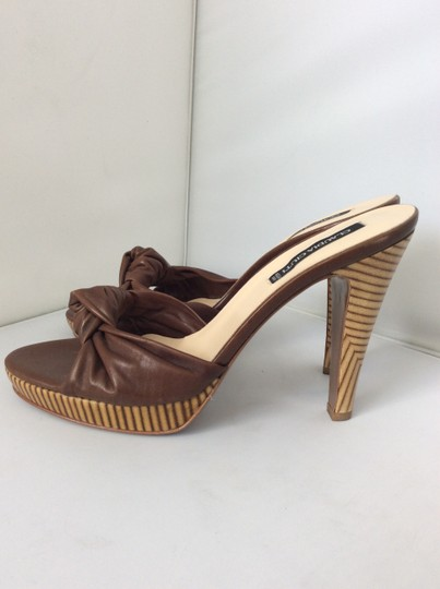 Claudia Ciuti Peep Toe Wood Heel Brown Sandals