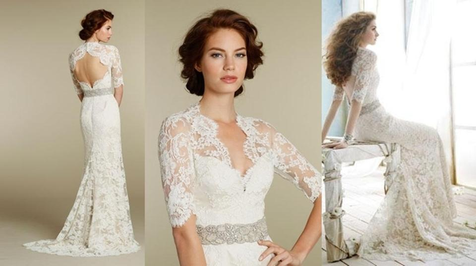 3b0986d26739 Jim Hjelm Ivory Alencon Lace Over Champagne Charmeuse 8211 Bridal Gown  Sleeve Train 0 2 4 ...