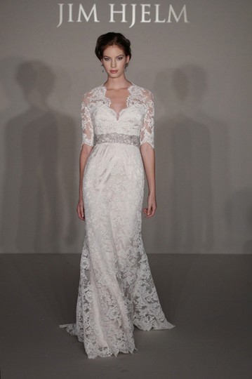 Jim Hjelm Ivory Alencon Lace Over Champagne Charmeuse 8211 Bridal Gown Sleeve Train 0 2 4 Traditional Dress Size 0 (XS)
